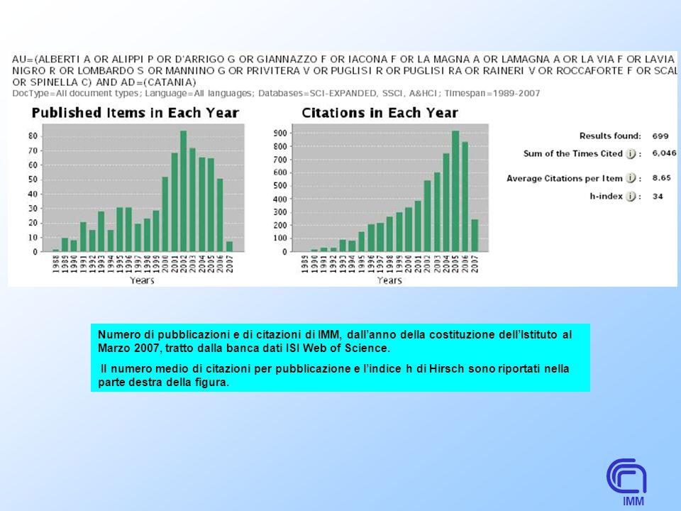 IMM Numero di pubblicazioni e di citazioni di IMM, dallanno della costituzione dellIstituto al Marzo 2007, tratto dalla banca dati ISI Web of Science.