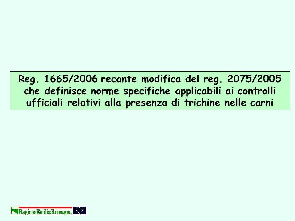 Reg. 1665/2006 recante modifica del reg. 2075/2005 che definisce norme specifiche applicabili ai controlli ufficiali relativi alla presenza di trichin