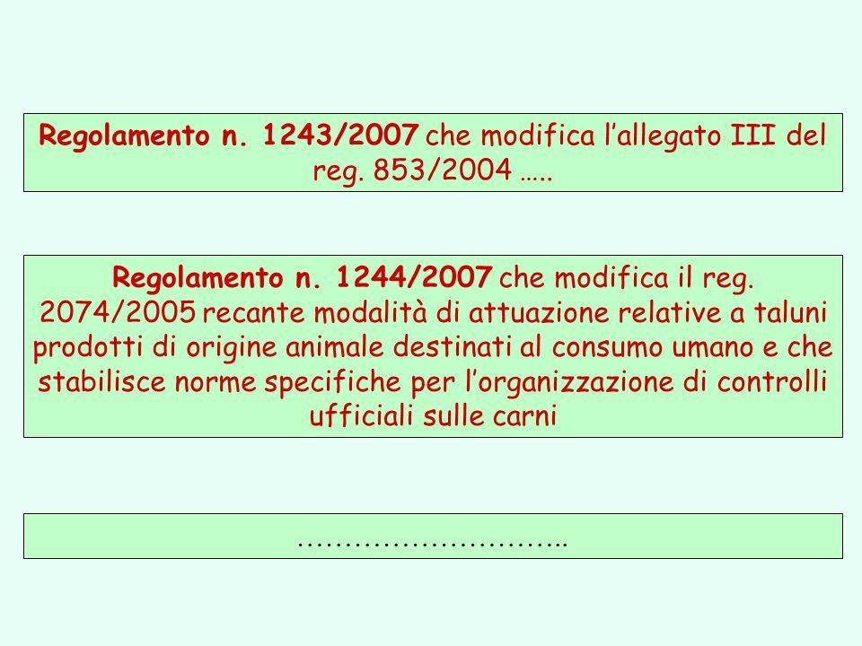……………………….. Regolamento n. 1243/2007 che modifica lallegato III del reg. 853/2004 ….. Regolamento n. 1244/2007 che modifica il reg. 2074/2005 recante
