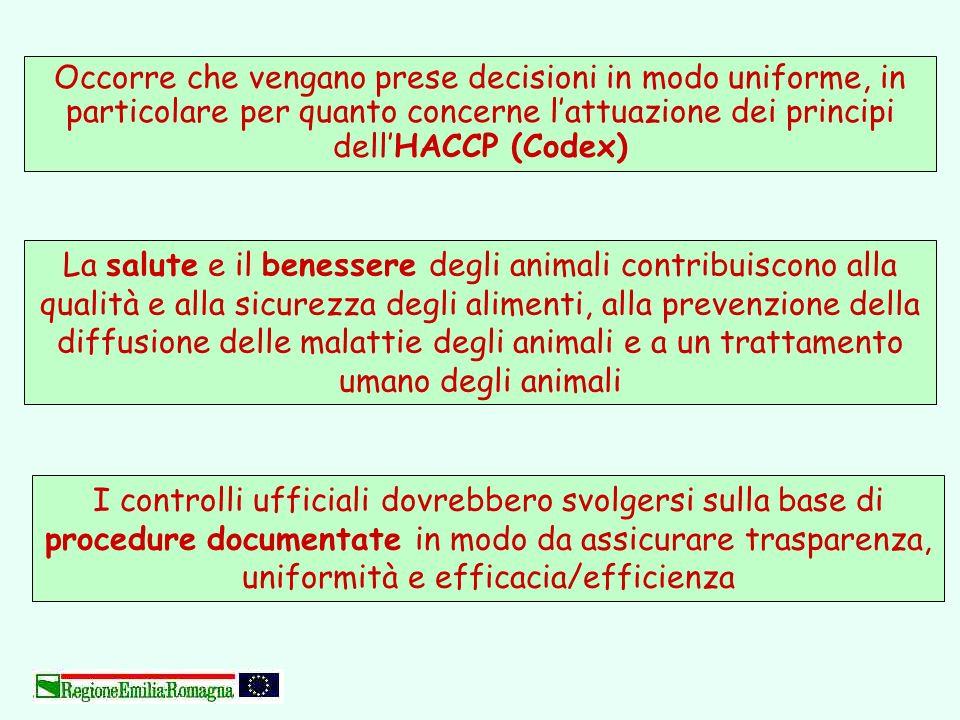 Occorre che vengano prese decisioni in modo uniforme, in particolare per quanto concerne lattuazione dei principi dellHACCP (Codex) I controlli uffici