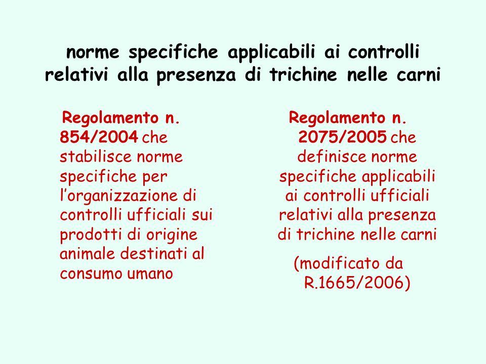norme specifiche applicabili ai controlli relativi alla presenza di trichine nelle carni Regolamento n. 854/2004 che stabilisce norme specifiche per l