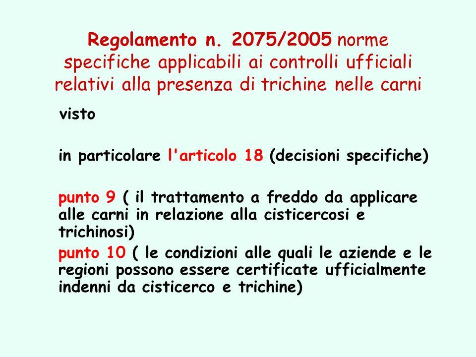 Regolamento n. 2075/2005 norme specifiche applicabili ai controlli ufficiali relativi alla presenza di trichine nelle carni visto in particolare l'art