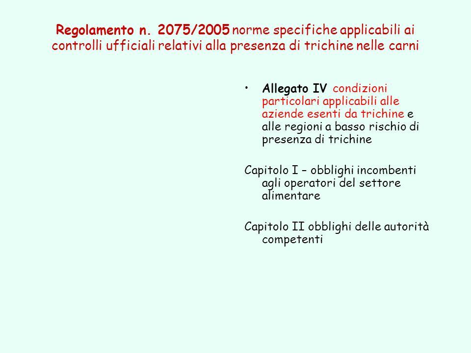 Regolamento n. 2075/2005 norme specifiche applicabili ai controlli ufficiali relativi alla presenza di trichine nelle carni Allegato IV condizioni par