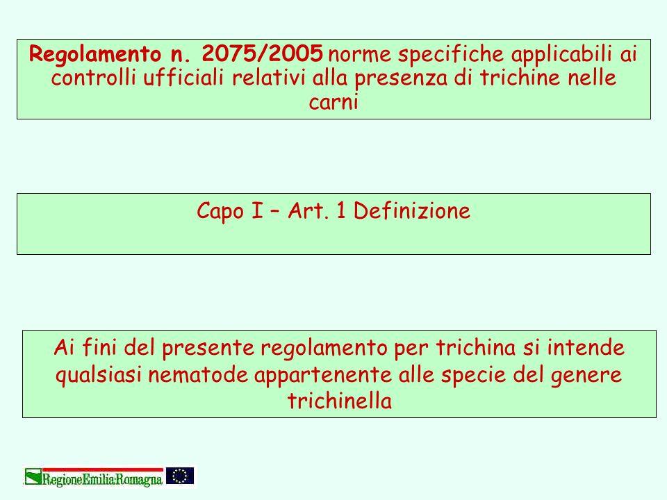 Ai fini del presente regolamento per trichina si intende qualsiasi nematode appartenente alle specie del genere trichinella Capo I – Art. 1 Definizion