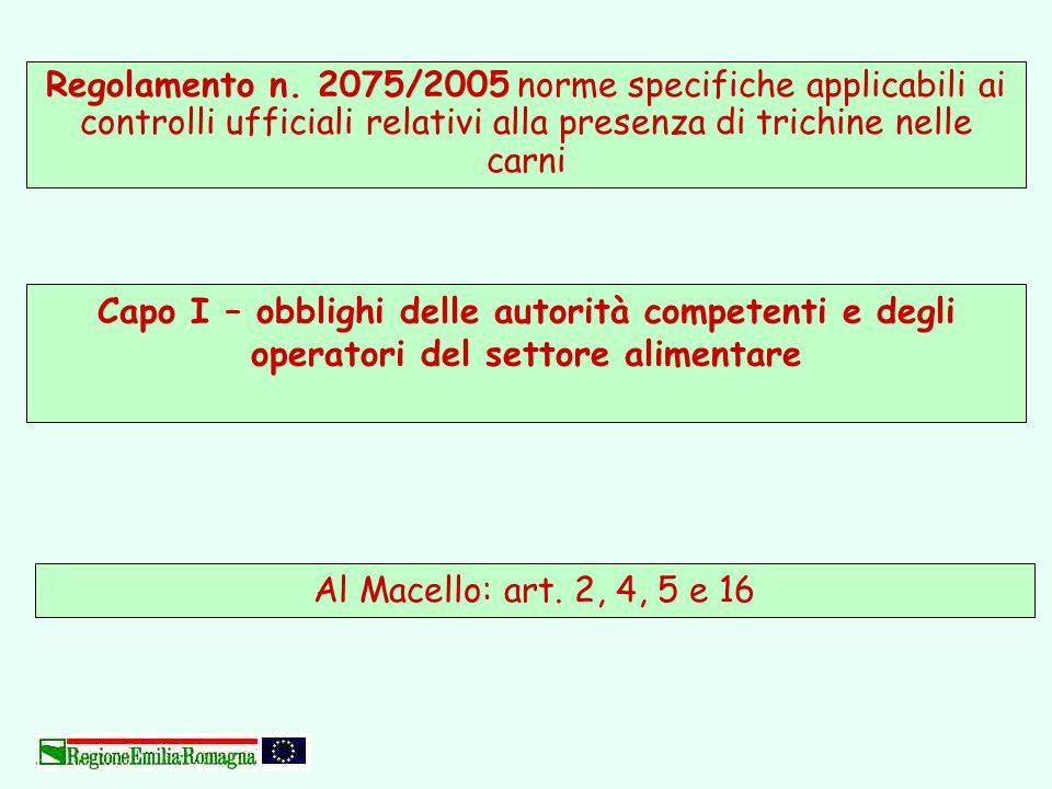 Regolamento n. 2075/2005 norme specifiche applicabili ai controlli ufficiali relativi alla presenza di trichine nelle carni Al Macello: art. 2, 4, 5 e