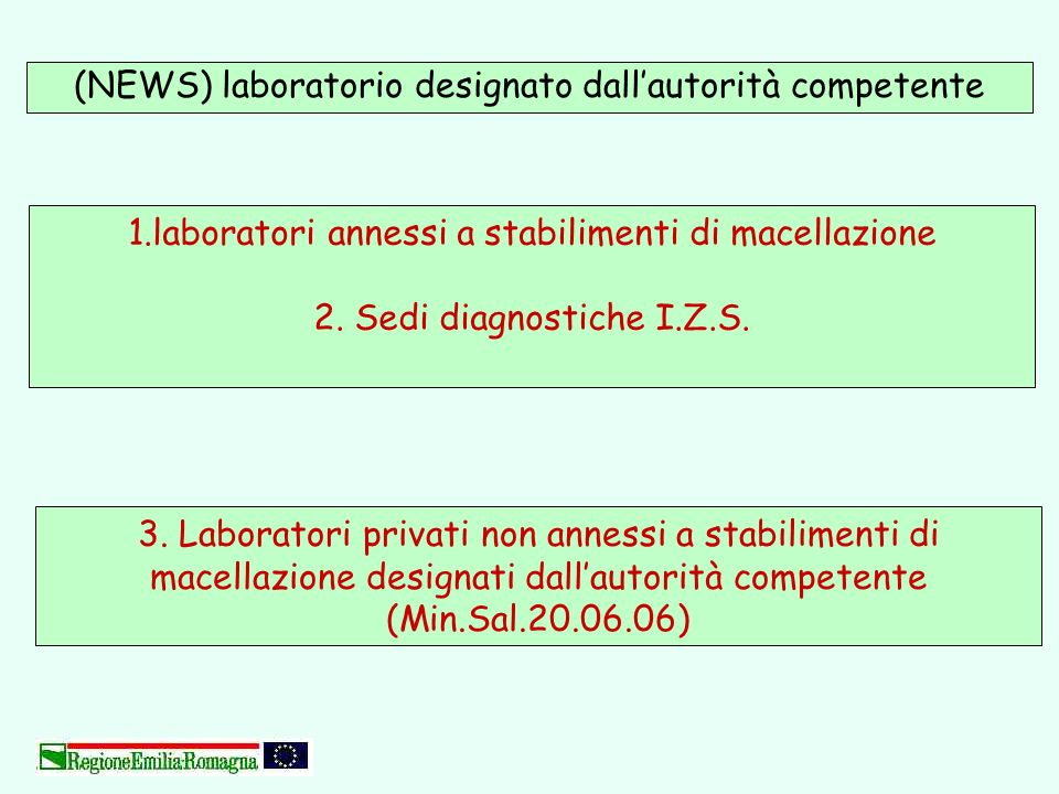 (NEWS) laboratorio designato dallautorità competente 3. Laboratori privati non annessi a stabilimenti di macellazione designati dallautorità competent