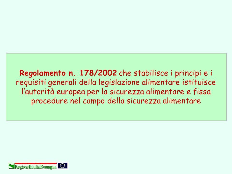 Regolamento n. 178/2002 che stabilisce i principi e i requisiti generali della legislazione alimentare istituisce lautorità europea per la sicurezza a