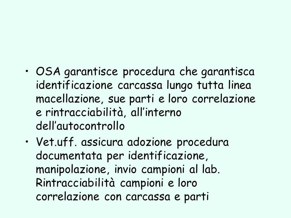 OSA garantisce procedura che garantisca identificazione carcassa lungo tutta linea macellazione, sue parti e loro correlazione e rintracciabilità, all