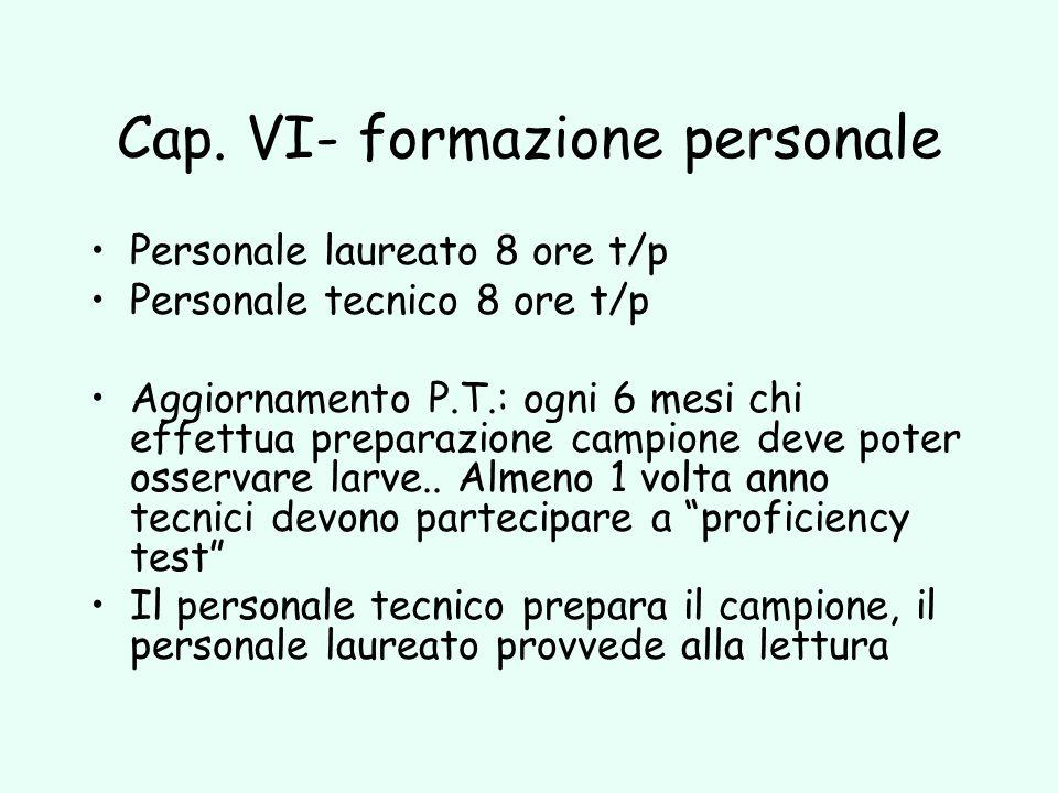 Cap. VI- formazione personale Personale laureato 8 ore t/p Personale tecnico 8 ore t/p Aggiornamento P.T.: ogni 6 mesi chi effettua preparazione campi