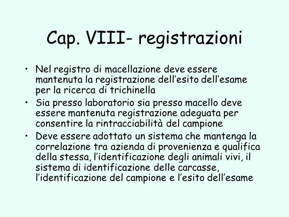 Cap. VIII- registrazioni Nel registro di macellazione deve essere mantenuta la registrazione dellesito dellesame per la ricerca di trichinella Sia pre