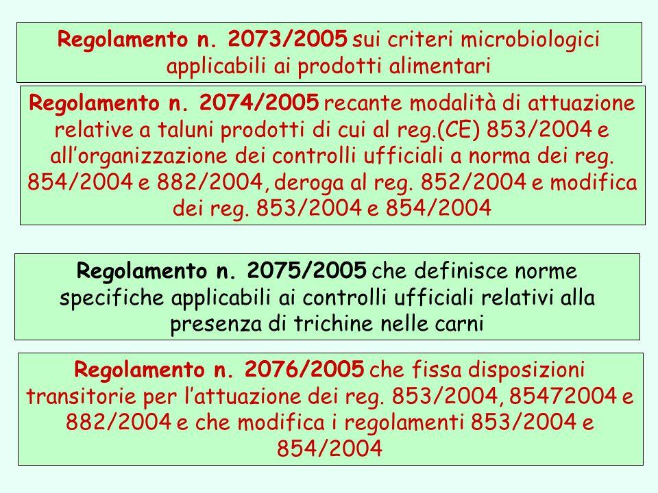 Regolamento n. 2076/2005 che fissa disposizioni transitorie per lattuazione dei reg. 853/2004, 85472004 e 882/2004 e che modifica i regolamenti 853/20