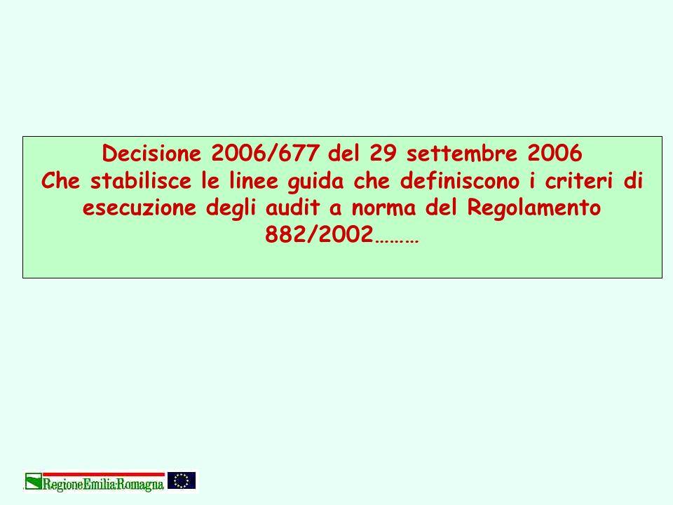 Decisione 2006/677 del 29 settembre 2006 Che stabilisce le linee guida che definiscono i criteri di esecuzione degli audit a norma del Regolamento 882