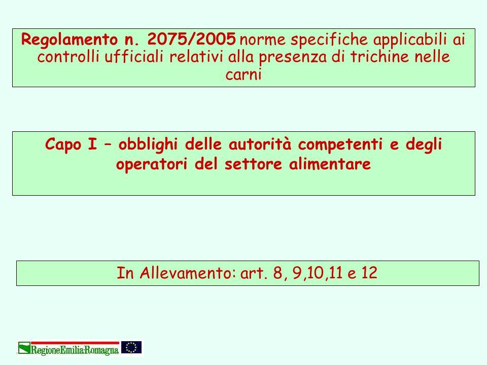 Regolamento n. 2075/2005 norme specifiche applicabili ai controlli ufficiali relativi alla presenza di trichine nelle carni In Allevamento: art. 8, 9,