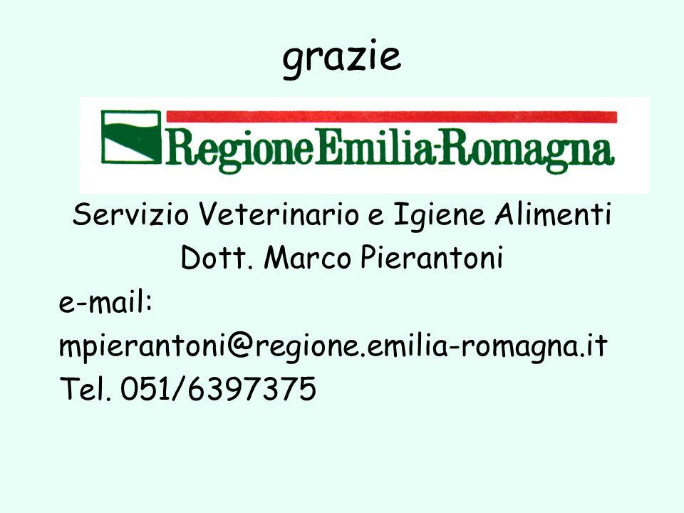 grazie Servizio Veterinario e Igiene Alimenti Dott. Marco Pierantoni e-mail: mpierantoni@regione.emilia-romagna.it Tel. 051/6397375