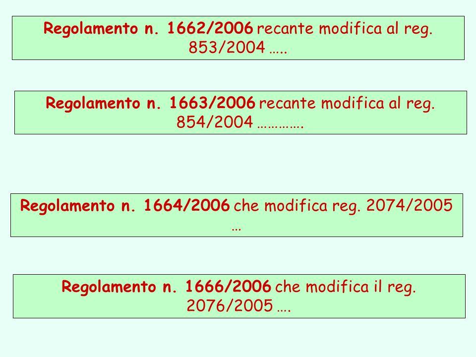 Regolamento n. 1666/2006 che modifica il reg. 2076/2005 …. Regolamento n. 1662/2006 recante modifica al reg. 853/2004 ….. Regolamento n. 1663/2006 rec