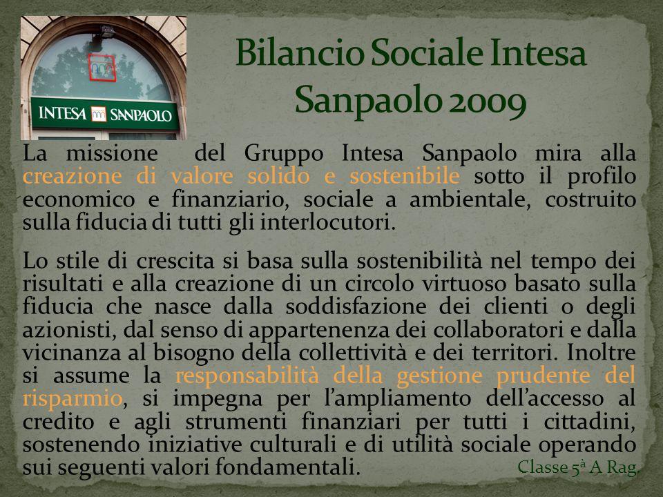 La missione del Gruppo Intesa Sanpaolo mira alla creazione di valore solido e sostenibile sotto il profilo economico e finanziario, sociale a ambientale, costruito sulla fiducia di tutti gli interlocutori.
