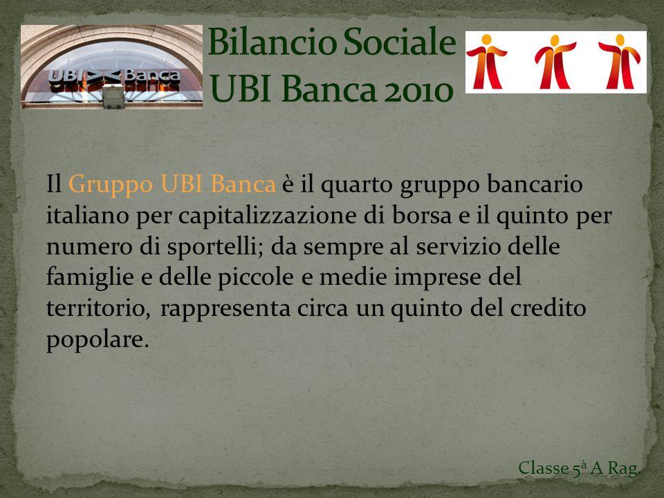 Il Gruppo UBI Banca è il quarto gruppo bancario italiano per capitalizzazione di borsa e il quinto per numero di sportelli; da sempre al servizio delle famiglie e delle piccole e medie imprese del territorio, rappresenta circa un quinto del credito popolare.