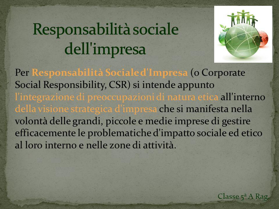 Relazione sociale Identità Aziendale Determinazione e distribuzione del Valore Aggiunto Classe 5 à A Rag.
