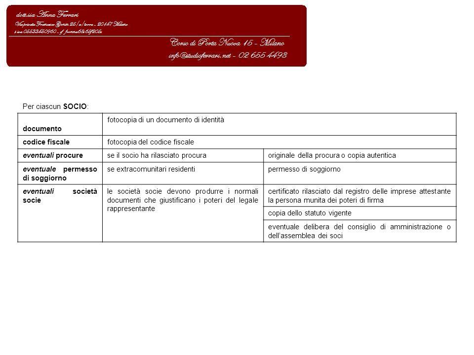 Per ciascun SOCIO: documento fotocopia di un documento di identità codice fiscalefotocopia del codice fiscale eventuali procurese il socio ha rilascia