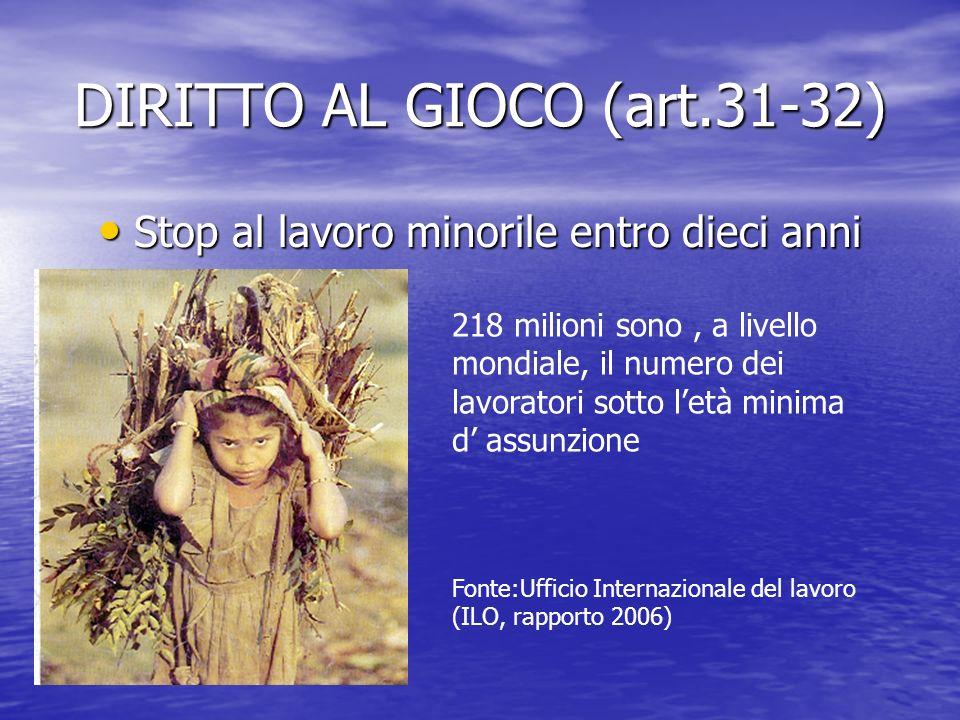 DIRITTO AL GIOCO (art.31-32) Stop al lavoro minorile entro dieci anni Stop al lavoro minorile entro dieci anni 218 milioni sono, a livello mondiale, i
