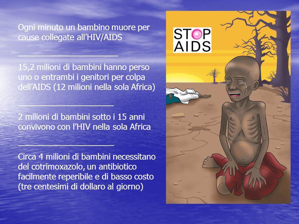 Ogni minuto un bambino muore per cause collegate allHIV/AIDS ______________________ 15,2 milioni di bambini hanno perso uno o entrambi i genitori per