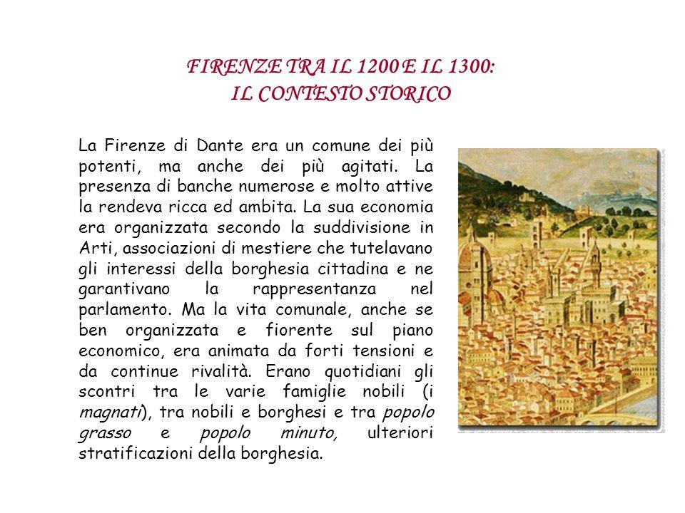 La Firenze di Dante era un comune dei più potenti, ma anche dei più agitati. La presenza di banche numerose e molto attive la rendeva ricca ed ambita.
