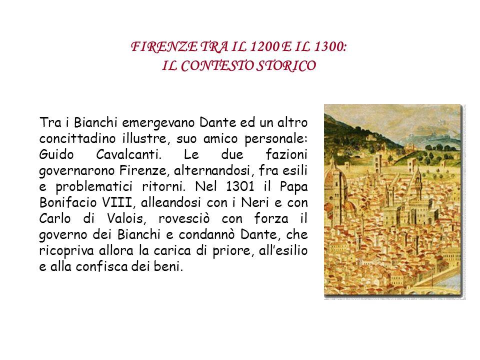 Tra i Bianchi emergevano Dante ed un altro concittadino illustre, suo amico personale: Guido Cavalcanti. Le due fazioni governarono Firenze, alternand