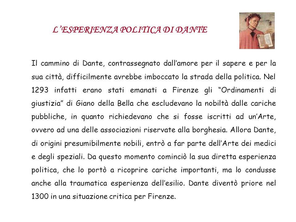 Il cammino di Dante, contrassegnato dallamore per il sapere e per la sua città, difficilmente avrebbe imboccato la strada della politica. Nel 1293 inf