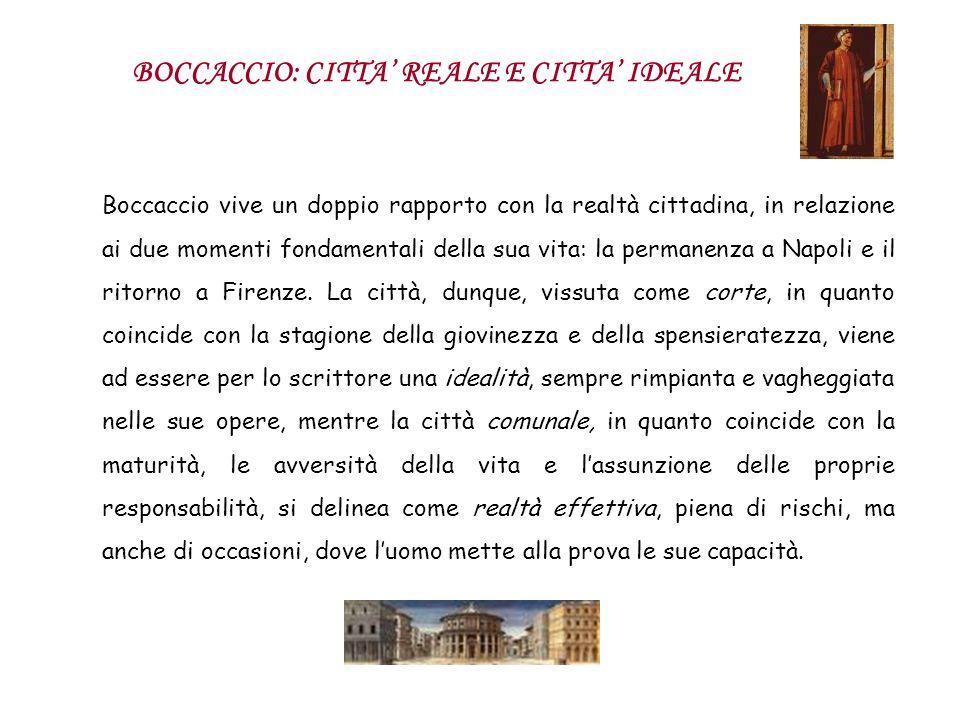 Boccaccio vive un doppio rapporto con la realtà cittadina, in relazione ai due momenti fondamentali della sua vita: la permanenza a Napoli e il ritorn