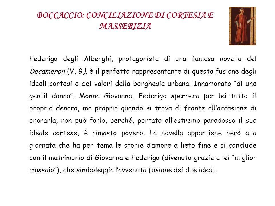 BOCCACCIO: CONCILIAZIONE DI CORTESIA E MASSERIZIA Federigo degli Alberghi, protagonista di una famosa novella del Decameron (V, 9), è il perfetto rapp
