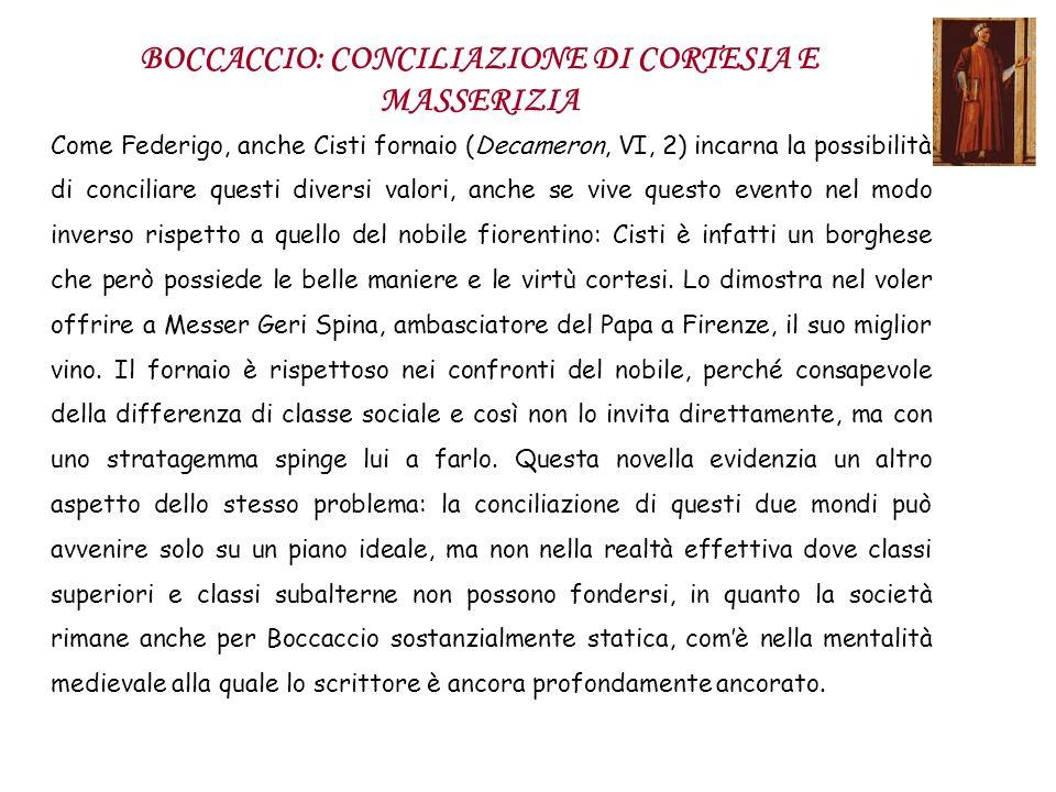 BOCCACCIO: CONCILIAZIONE DI CORTESIA E MASSERIZIA Come Federigo, anche Cisti fornaio (Decameron, VI, 2) incarna la possibilità di conciliare questi di