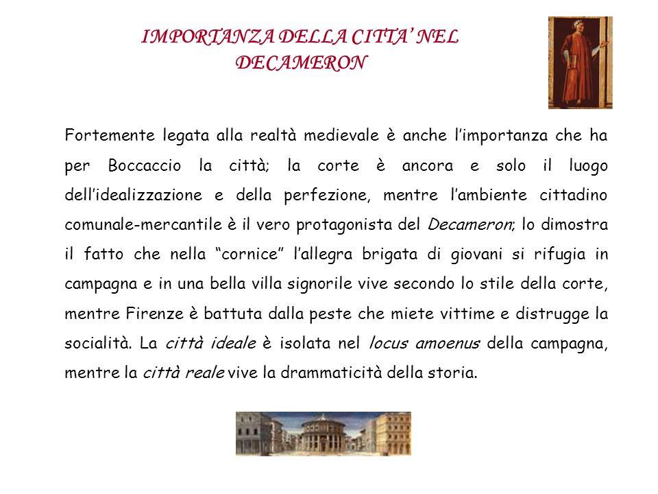 IMPORTANZA DELLA CITTA NEL DECAMERON Fortemente legata alla realtà medievale è anche limportanza che ha per Boccaccio la città; la corte è ancora e so