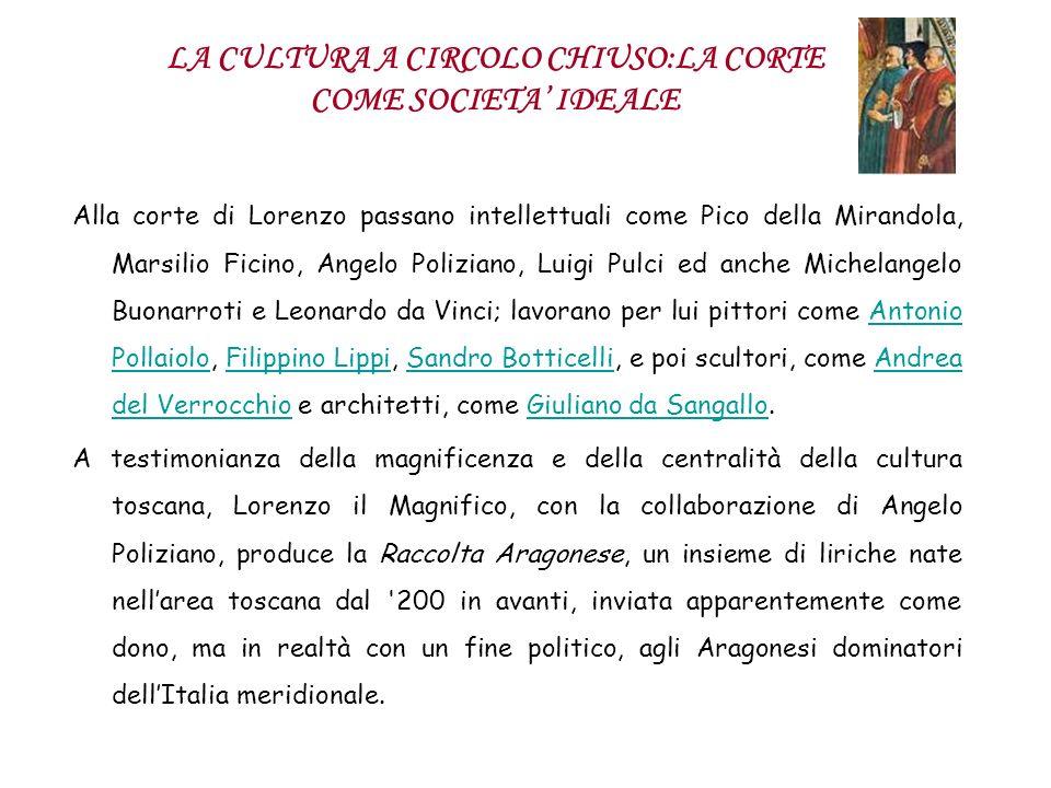 LA CULTURA A CIRCOLO CHIUSO:LA CORTE COME SOCIETA IDEALE Alla corte di Lorenzo passano intellettuali come Pico della Mirandola, Marsilio Ficino, Angel