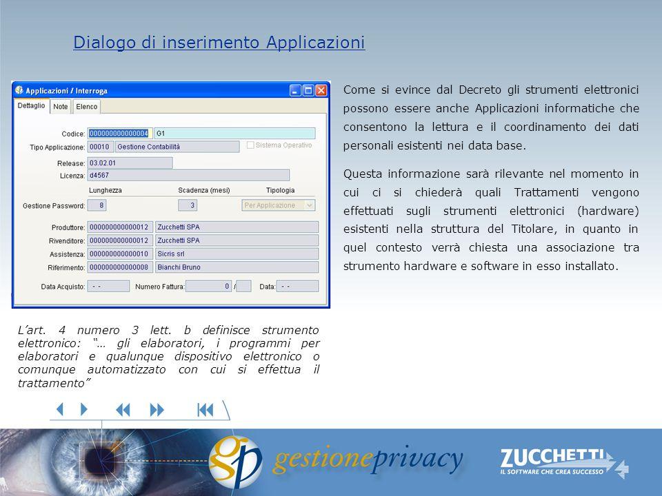 Dialogo di inserimento Applicazioni Dialogo di inserimento Applicazioni Come si evince dal Decreto gli strumenti elettronici possono essere anche Applicazioni informatiche che consentono la lettura e il coordinamento dei dati personali esistenti nei data base.