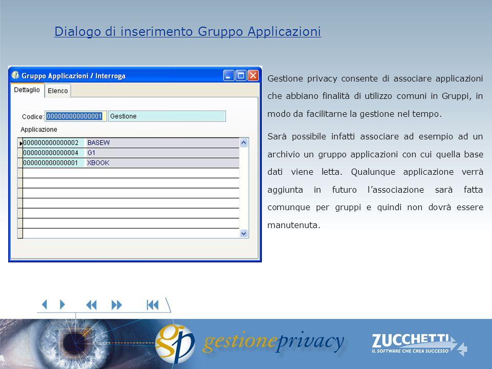 Dialogo di inserimento Gruppo Applicazioni Dialogo di inserimento Gruppo Applicazioni Gestione privacy consente di associare applicazioni che abbiano finalità di utilizzo comuni in Gruppi, in modo da facilitarne la gestione nel tempo.