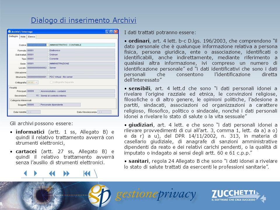 Dialogo di inserimento Archivi Dialogo di inserimento Archivi I dati trattati potranno essere: ordinari, art. 4 lett. b-c D.lgs. 196/2003, che compren