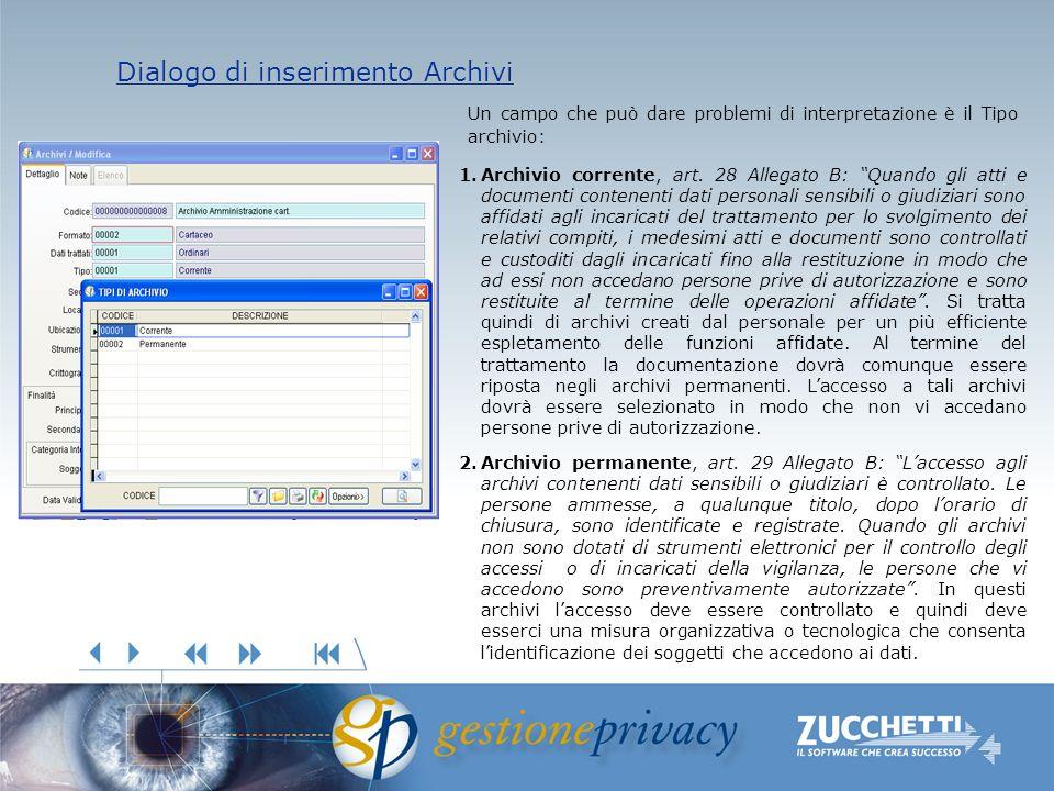 Dialogo di inserimento Archivi Dialogo di inserimento Archivi 1.Archivio corrente, art. 28 Allegato B: Quando gli atti e documenti contenenti dati per
