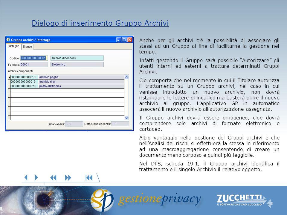 Dialogo di inserimento Gruppo Archivi Dialogo di inserimento Gruppo Archivi Anche per gli archivi cè la possibilità di associare gli stessi ad un Gruppo al fine di facilitarne la gestione nel tempo.