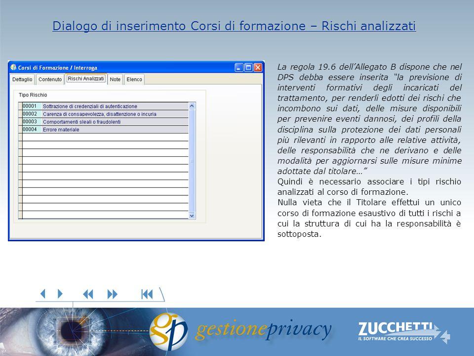 Dialogo di inserimento Corsi di formazione – Rischi analizzati Dialogo di inserimento Corsi di formazione – Rischi analizzati La regola 19.6 dellAlleg