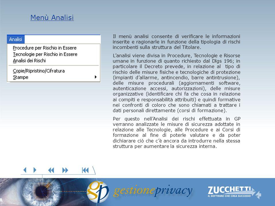 Menù Analisi Menù Analisi Il menù analisi consente di verificare le informazioni inserite e ragionarle in funzione della tipologia di rischi incombenti sulla struttura del Titolare.