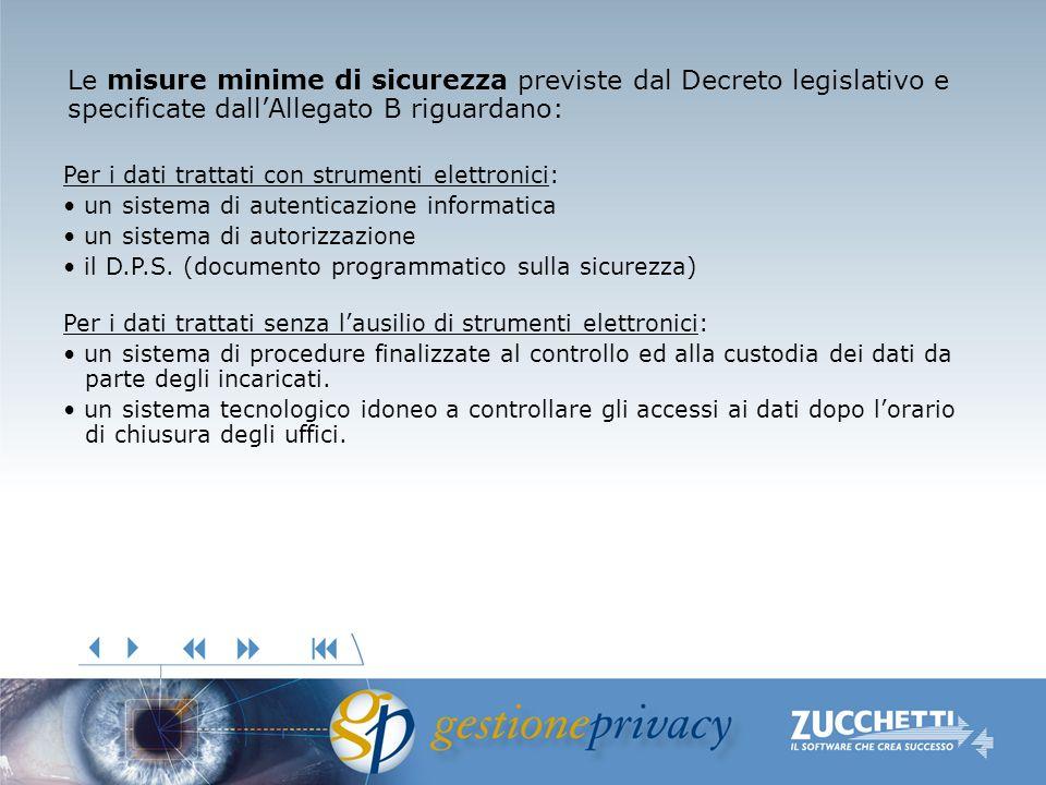 Le misure minime di sicurezza previste dal Decreto legislativo e specificate dallAllegato B riguardano: Per i dati trattati con strumenti elettronici: un sistema di autenticazione informatica un sistema di autorizzazione il D.P.S.
