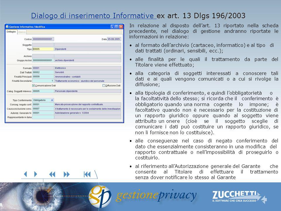 Dialogo di inserimento Informative Dialogo di inserimento Informative ex art. 13 Dlgs 196/2003 Dialogo di inserimento Informative In relazione al disp