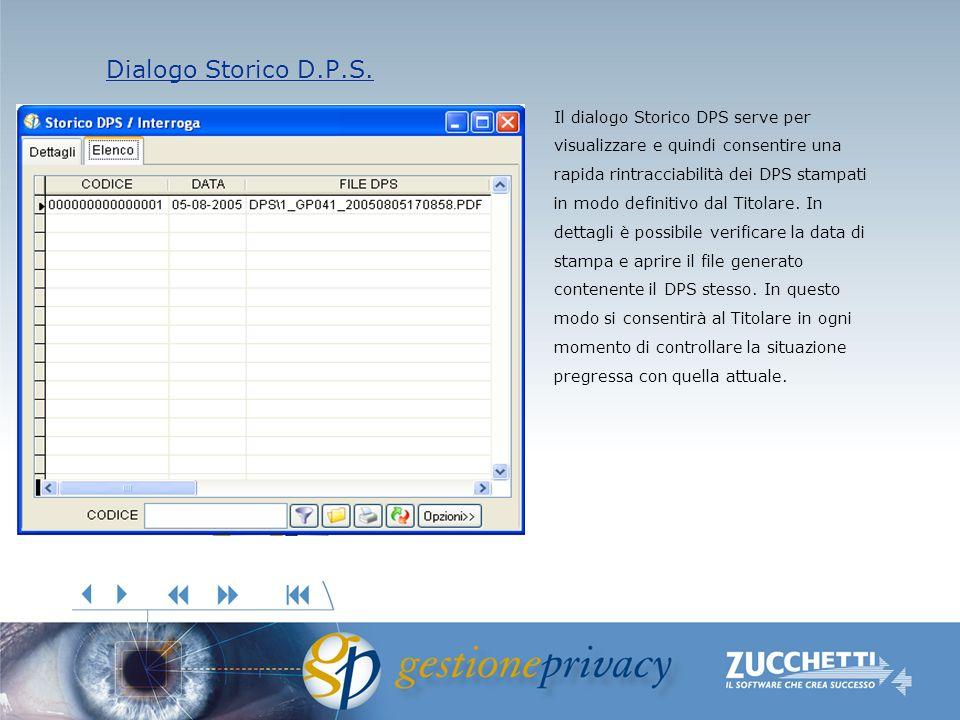 Dialogo Storico D.P.S. Dialogo Storico D.P.S. Il dialogo Storico DPS serve per visualizzare e quindi consentire una rapida rintracciabilità dei DPS st
