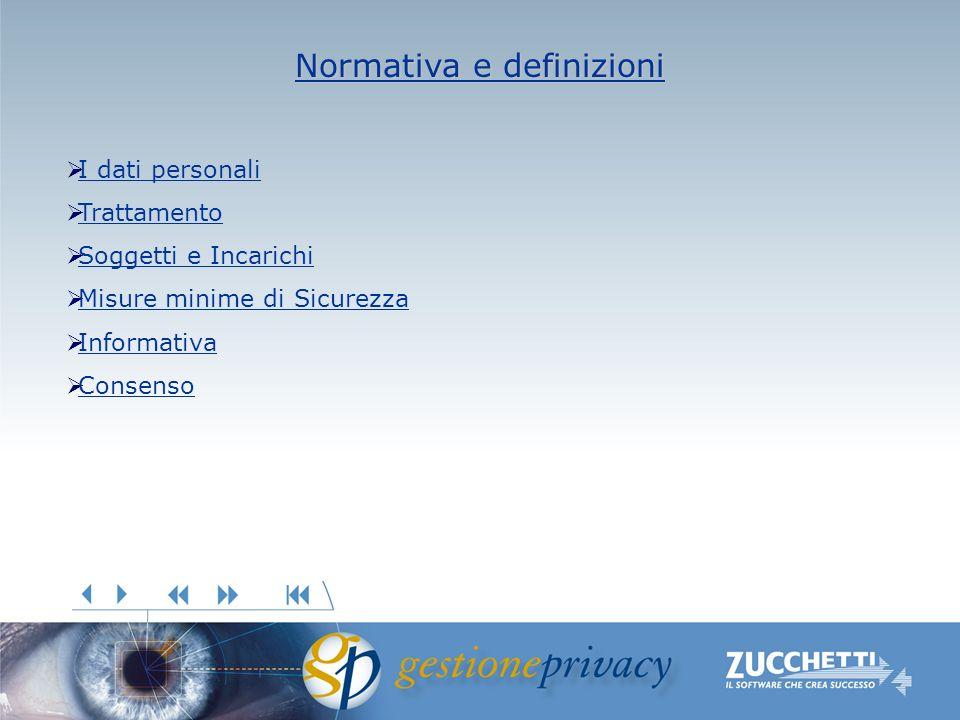 Normativa e definizioni Normativa e definizioni I dati personali Trattamento Soggetti e Incarichi Misure minime di Sicurezza Informativa Consenso