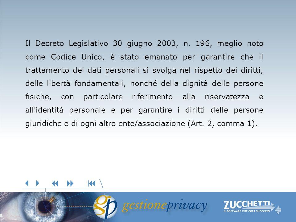 Il Decreto Legislativo 30 giugno 2003, n. 196, meglio noto come Codice Unico, è stato emanato per garantire che il trattamento dei dati personali si s