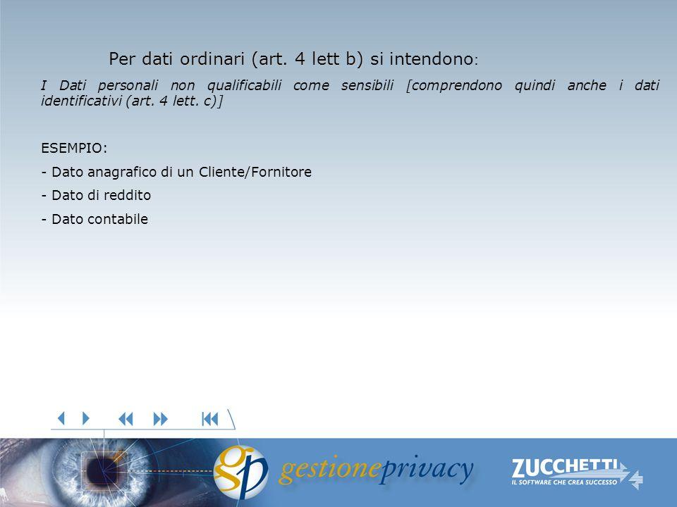 dati ordinari (art. 4 lett b) Per dati ordinari (art. 4 lett b) si intendono : I Dati personali non qualificabili come sensibili [comprendono quindi a