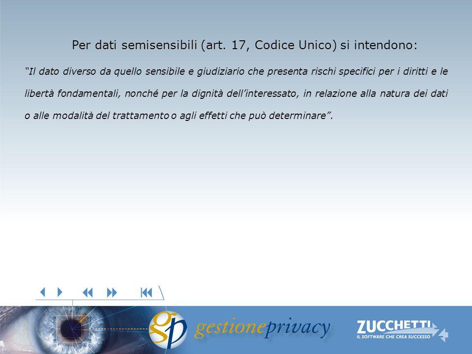 dati semisensibili(art. 17, Codice Unico) Per dati semisensibili (art. 17, Codice Unico) si intendono: Il dato diverso da quello sensibile e giudiziar