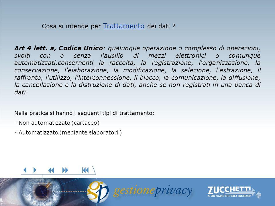 Trattamento Trattamento Cosa si intende per Trattamento dei dati ? Trattamento Art 4 lett. a, Codice Unico: qualunque operazione o complesso di operaz