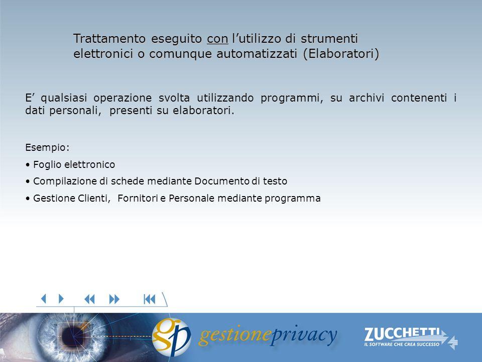 Trattamento eseguito con lutilizzo di strumenti elettronici o comunque automatizzati (Elaboratori) E qualsiasi operazione svolta utilizzando programmi