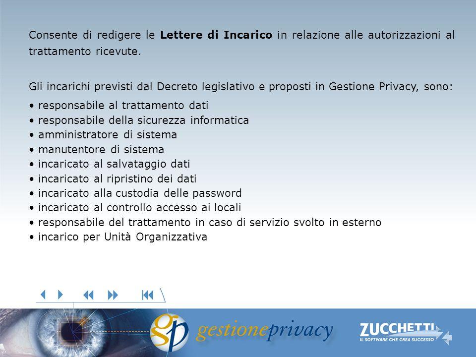 Consente di redigere le Lettere di Incarico in relazione alle autorizzazioni al trattamento ricevute. Gli incarichi previsti dal Decreto legislativo e